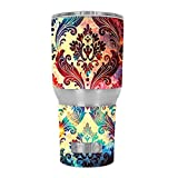 Skin Decal Vinyl Wrap for RTIC 30 oz Tumbler Cup (6-piece kit) / Galaxy Paisley Antique