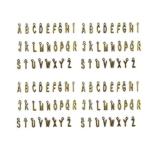 RTNOW 104 PCS Zinc Alloy Metal A-Z Letter Alphabet Charm Pendant Loose Beads (Antique (Sterling Silver Alphabet Beads Plated)