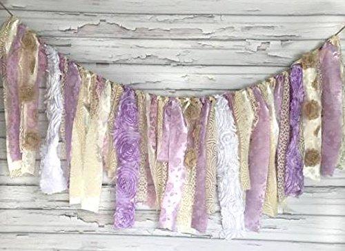 Purple & Cream Shabby Chic Garland Rag Tie Banner: ~ Photo Shoot ~ Vintage ~ Wedding Decor ~ Nursery ~ Bridal Shower ~ Gender Reveal Parties ~ Decorations ~ Photo Props ~ Wall Decor! (3 FEET WIDE) ()