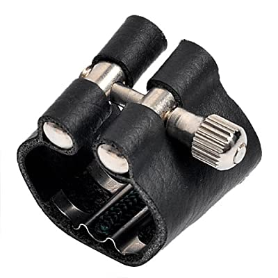 Kmise A1279 1 Piece Leather Ligature for Soprano Saxophone Mouth Piece, Black by Kmise
