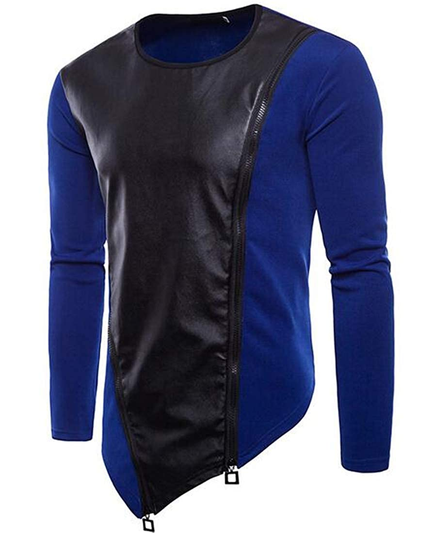 UUYUK Men Zipper Crew Neck Splicing Long Sleeve Asymmetrical Sweat Shirt Tops