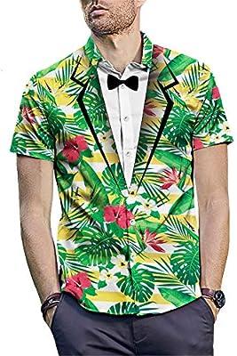 Camisa de vestir para hombre con estampado 3D Summer Beach Camisa hawaiana tropical Camisa casual de manga corta con botones Camisa de fiesta Clubwear Adolescente Camisetas Tops Talla M L XL XXL