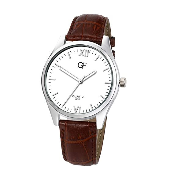 Amazon.com: Pengy Mens Quartz Letter Leather Watch Pointer Light Series Brown Band Watch Males Business Watches: Watches
