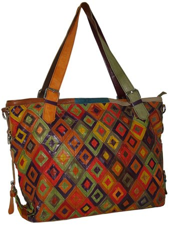 AmeriLeather Bailey Tote (Rainbow) ()