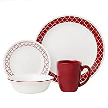 Corelle 16-Piece Crimson Trellis Livingware Dinnerware Set, White