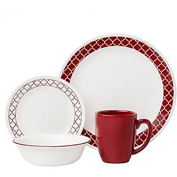 Corelle 16 Piece Crimson Trellis Livingware Dinnerware Set White  sc 1 st  Amazon.com & Amazon.com | Corelle 16 Piece Crimson Trellis Livingware Dinnerware ...