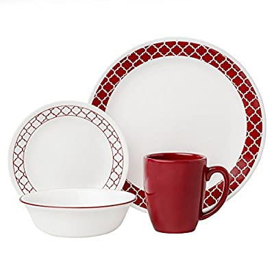 "Corelle 1123686 Livingware 16-Piece Dinnerware Set, Crimson Trellis, Red/White - Service for 4 includes: 4 each 10-1/4"" Dinner Plates, 6-3/4"" Bread and Butter Plates, 18-Ounce Soup/Cereal Bowls, 11-Ounce Stoneware Mugs Made with break and scratch resistant patented Vitrelle glass technology Space saving design: lightweight and thin, yet extremely durable - kitchen-tabletop, kitchen-dining-room, dinnerware-sets - 51VaUYHP4jL. SS400  -"