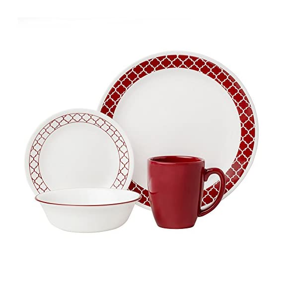 """Corelle 1123686 Livingware 16-Piece Dinnerware Set, Crimson Trellis, Red/White - Service for 4 includes: 4 each 10-1/4"""" Dinner Plates, 6-3/4"""" Bread and Butter Plates, 18-Ounce Soup/Cereal Bowls, 11-Ounce Stoneware Mugs Made with break and scratch resistant patented Vitrelle glass technology Space saving design: lightweight and thin, yet extremely durable - kitchen-tabletop, kitchen-dining-room, dinnerware-sets - 51VaUYHP4jL. SS570  -"""