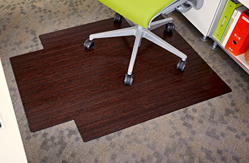 Anji Mountain AMB24004 Bamboo Roll-Up Chair Mat with Lip, Dark Cherry, 36 x 48, 5mm Thick