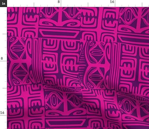 Tiki Fabric - Mid Century Cocktail Lounge Sophistatiki Oasis Hukilau Print on Fabric by The Yard - Sport Lycra for Swimwear Performance Leggings Apparel Fashion
