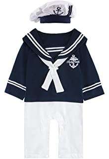 1536bb2510054 Amazon.com  Mud Kingdom Baby Boy Rompers with Hats Summer Sailor ...