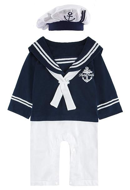 1552cdb1dac7 Amazon.com  COSLAND Baby Boys  2 Pieces Sailor Romper Outfit  Clothing