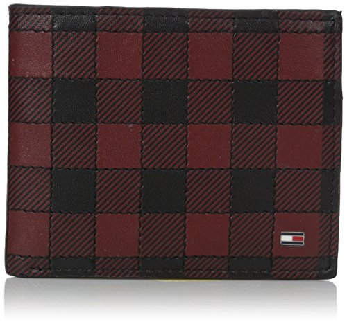 Tommy Hilfiger Men's Leather Wallet - Bifold Trifold Hybrid Flip Pocket Extra Capacity Casual Slim Thin for Travel,Plaid Black
