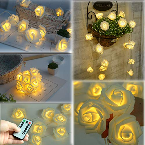 Homeleo 30 Led Rose String Lights, Rose Flower Lamp Fairy Lights with Remote for Christmas Wedding Room Anniversary Valentines Day Decoration (Warm White)