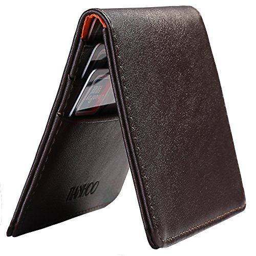 Mens Slim Travel Wallets Made from Cowhide Leather,Small Front Pocket Wallets for Men