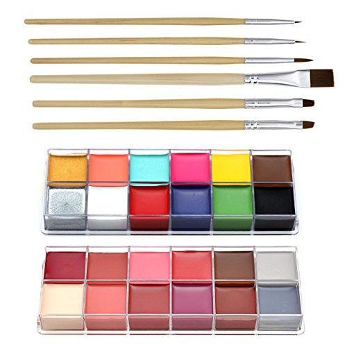 CCBeauty Professional Face Paint Oil 24 Colors Body Painting Art Party Fancy Make Up + Brushes Set,#3 -