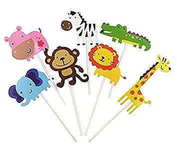 35 Pack Zoo Animal Cupcake Toppers Safari Jungle Themed Cake Topper