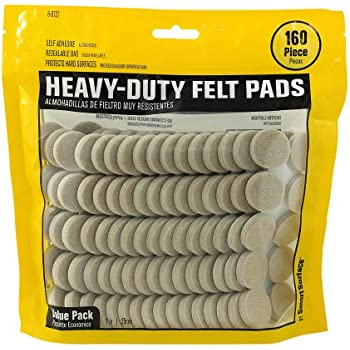 Smart Surface 8727 Heavy Duty Self Adhesive Furniture Felt Pads 1 Inch  Round Oatmeal 160 Piece Value Pack In Resealable Bag