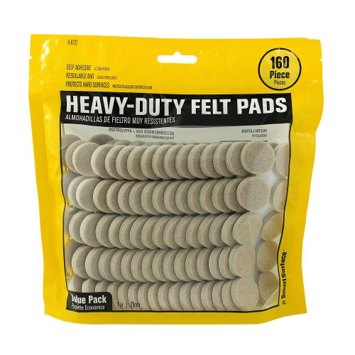 1 Inch Felt (Smart Surface 8727 Heavy Duty Self Adhesive Furniture Felt Pads 1-Inch Round Oatmeal 160-Piece Value Pack in Resealable Bag)
