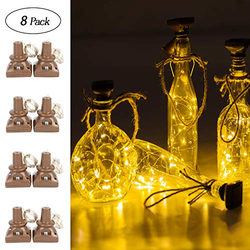 - Upgraded 8 Pack Solar Powered Wine Bottle Lights, 20 LED Waterproof Colorful Copper Cork Shaped Lights for Wedding Christmas, Outdoor, Holiday, Garden, Patio Pathway Decor (Warm White