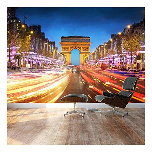 Large Wall Mural Arch of Triumph and Champs Elysees with Busy Traffic at Evening Vinyl Wallpaper Removable Decorating