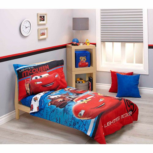4 Piece Boys Blue Red Disney Cars The Movie Themed Comforter Set Toddler With Sheets, Lightning Mcqueen Luigi Guido, Reversible Vibrant White Red Brown Kids Bedding For Bedroom, Polyester Microfiber by un