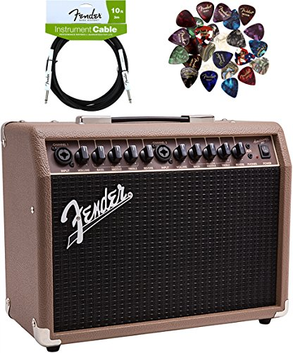 Fender Acoustasonic 40 Acoustic Guitar Amplifier - Brown and Wheat Bundle with Instrument Cable, Pick Sampler, and Austin Bazaar Polishing Cloth (Combo Electric Acoustic Amps)
