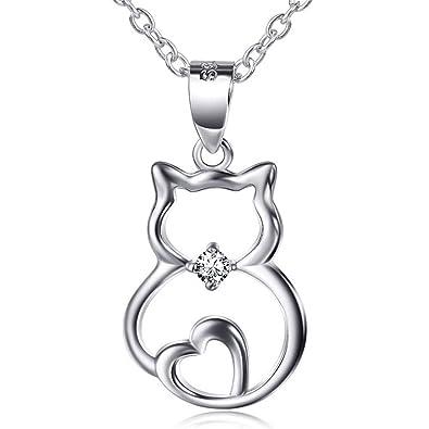 Sojewe Sterling Silber Damen Herz Katze Exqusite Temperament Halskette  Anhänger 18 Zoll Weiß Vergoldet Kette  Amazon.de  Schmuck f7e9a200d7
