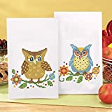 Herrschners Bright Owls Towel Pair Stamped Cross-Stitch offers