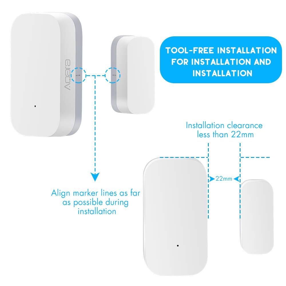 ,para Mijia//para Homekit Homekit de Seguridad para Aqara Smart Home 3,Alarmas para el Smart Gateway Aqara Sensor de Puerta y Ventana 1XGateway+2 X Aqara Sensor de Puerta y Ventana
