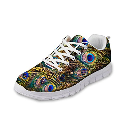 Sneakers Shoes 2 FOR Breathable U Peacock Gold Fashion Feathers Women's Floral DESIGNS Running Men's amp; YZ8n6wZvq