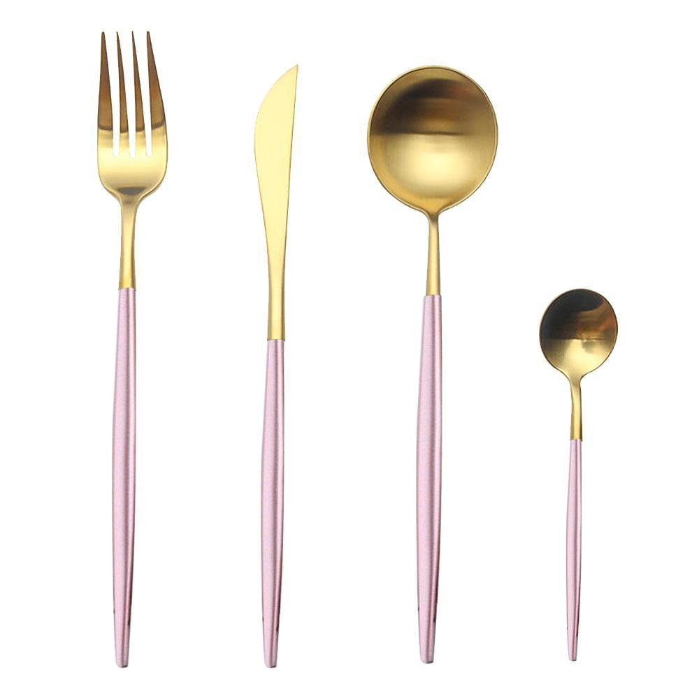 Pink and Gold Dinnerware Set, Aolvo 4 Piece Brushed Stainless Steel 18/10 Flatware Set Including Fork Spoons Knife for Everyday Use or Travel