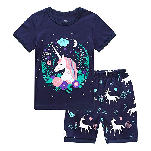 RKOIAN Little Girls' Short Pajamas Sets Toddler PJS Cotton Kids Sleepwears (Navy Unicorn, 8 Tall) -