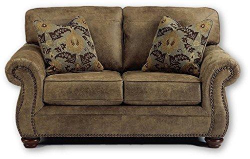 Ashley Furniture Signature Design – Larkinhurst Traditional Loveseat – Faux Weathered Leather Sofa – Earth