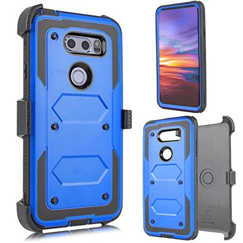 (FOR LG V30, LG V30 Plus, V30S 2017 (Sprint, Verizon, T-Mobile etc) Full Body Armor Rugged Holster Defender Hybrid Case with Built in Screen Protector & 360 Swivel Belt Clip (Blue))