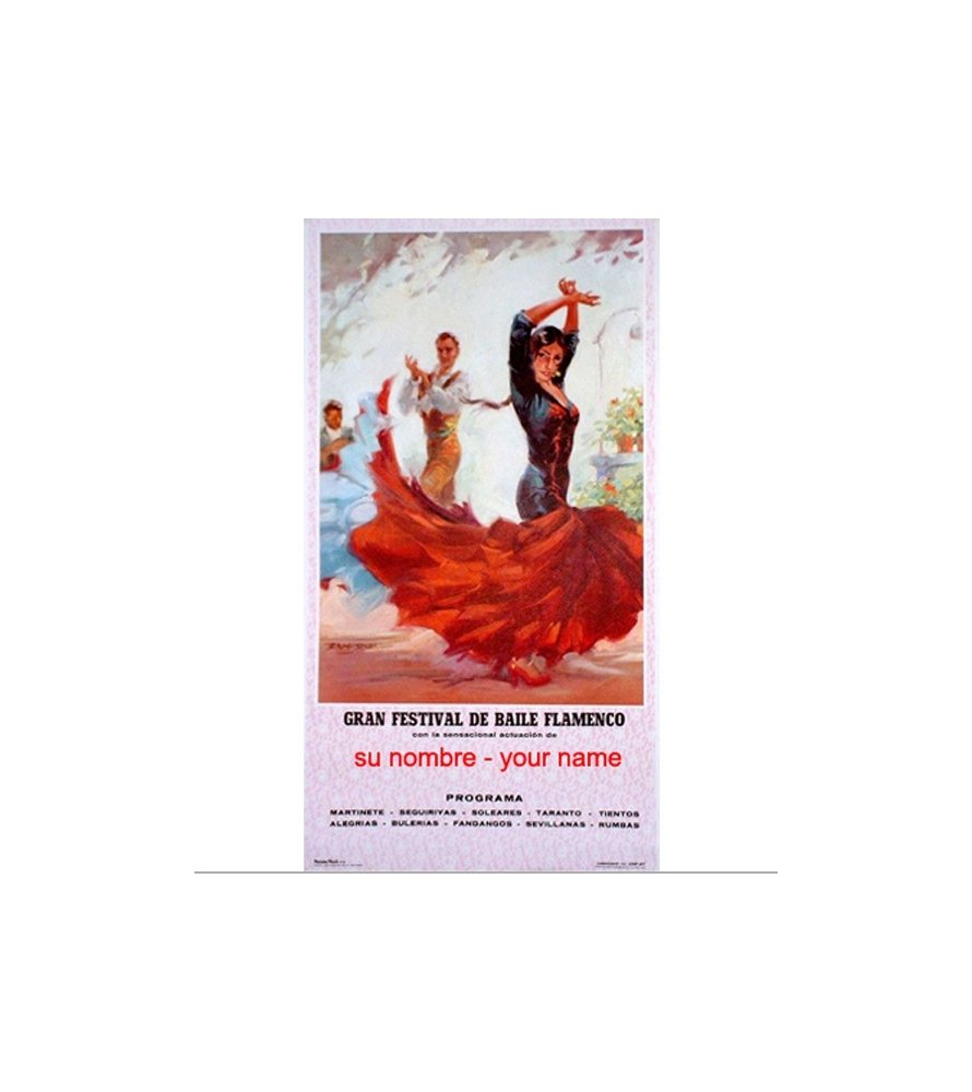 Cartel de flamenco personalizable - Vestido blanco
