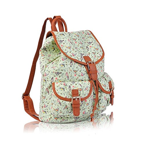 NUEVO Lienzo pájaros Impresión Mochila Niñas Bolso de escuela College & Mochila de viaje bolsa de hombro Multicolor - verde