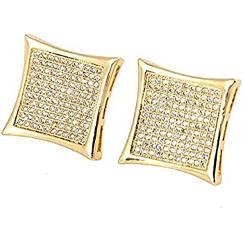 b56010f69a753 Amazon.com: New Men's Hip Hop Iced Out Medium Square Flat Screen ...