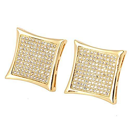 Mens 14k Gold Plated Hip Hop Kite Screw Backs Earrings Iced Out 8 Rows(15mmx15mm)