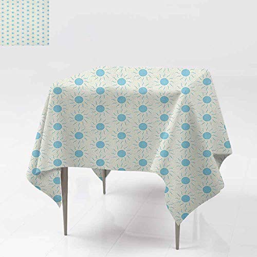 AndyTours Spill-Proof Table Cover,Aqua,Blue Sun Shape Circle and Swirl Sweet Aquatic Summer Themed Abstract Design Print,Party Decorations Table Cover Cloth,50x50 Inch Blue White