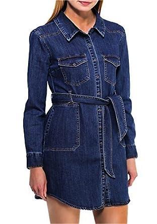 fd02d66cf0 NEW Womens Longline Denim Shirt Dress Ladies Jean Dresses Size 8 10 12 14  mini p  Amazon.co.uk  Clothing