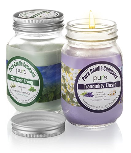 PURE Naturally Scented Aromatherapy Candles Gift Set, 2-Pack Lavender Chamomile & Spearmint Eucalyptus Essential Oil Soy Candles Large Mason Jar, 12.5 oz. Natural Home Fragrance Candles.