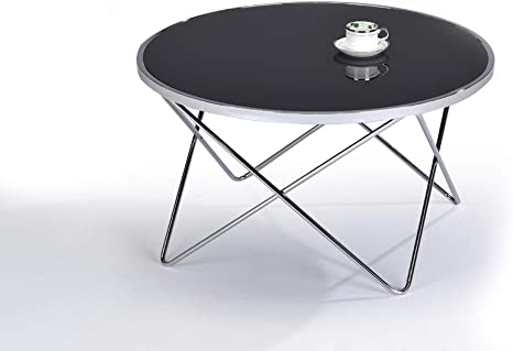 Meubletmoi Coffee Table Round Glass Black And Chrome Steel Modern Design Xena Amazon De Kuche Haushalt