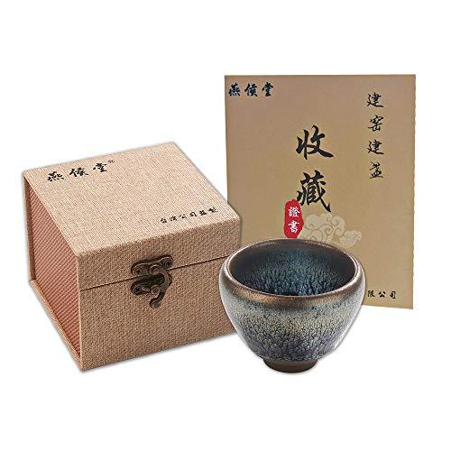 - Yan Hou Tang JianZhan Tenmoku Tea Coffee Expresso Cappuccino Asian Cup Matcha Mug Bowl - 85ml 3oz Ping Partridge Spot Chinese EGG Style Metal Class Ceramic Crafts Designer Collection Ceremony Handmade