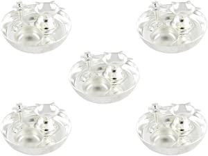 GoldGiftIdeas 4 Inch Silver Plated Pooja Thali Set (Pack of 5), Pooja Thali Decorative Plate, Return Gift for Wedding and Housewarming