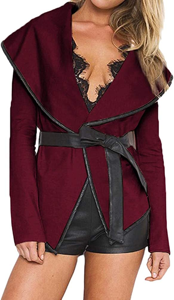 Misaky Coat for Women Autumn Winter Fashion Open Jacket with Belt Woolen Blouse