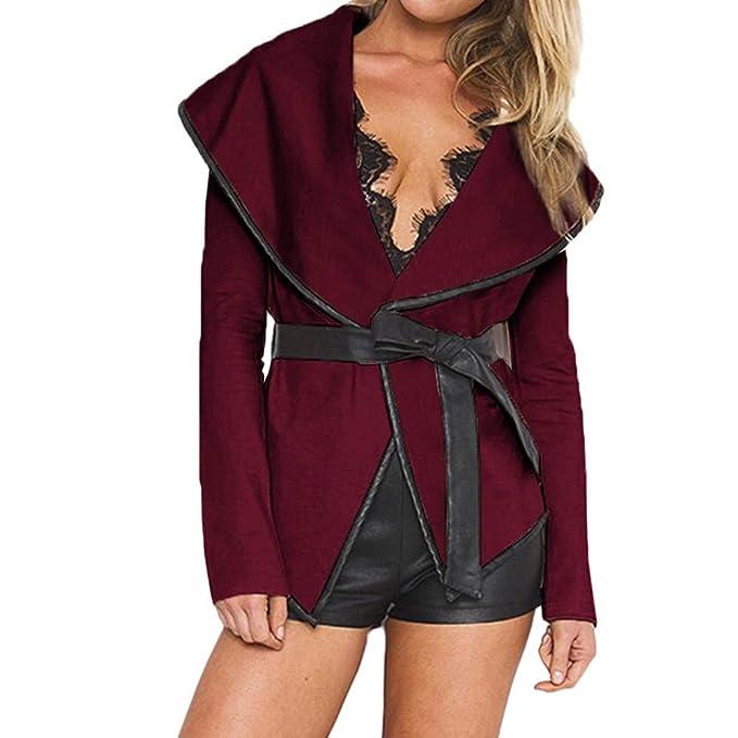 ... Chaquetas De Mujer Vaqueras, Mujer Otoño Abierto Chaqueta Blusa con Cinturón Invierno De Lana Capa: Amazon.es: Ropa y accesorios