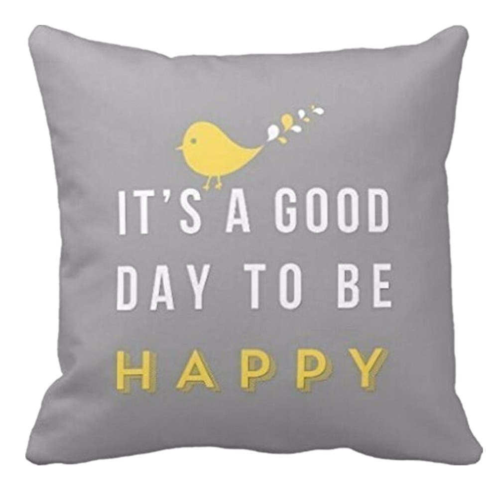 Emerayo Yellow Bird Letter Throw Pillow Case Cushion Cover for Sofa Bedroom Car 18 x 18 Inch (Gray, 18 x 18 Inch)