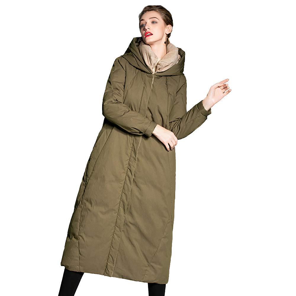 Women's Long Jacket Coat,Winter Overcoat Womens Hooded Ultra Light Down Jacket Slim Solid Long Down Jacket Female Portable Parkas,L