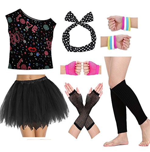 80s Party Costume T Shirt Halloween Dressing for Women and Girls Outfit Set